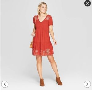 Short Sleeve Shift Dress Embroidery Knox Rose